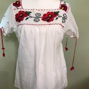 Tops - Women's White Handmade Embroidered Shirt, M-L